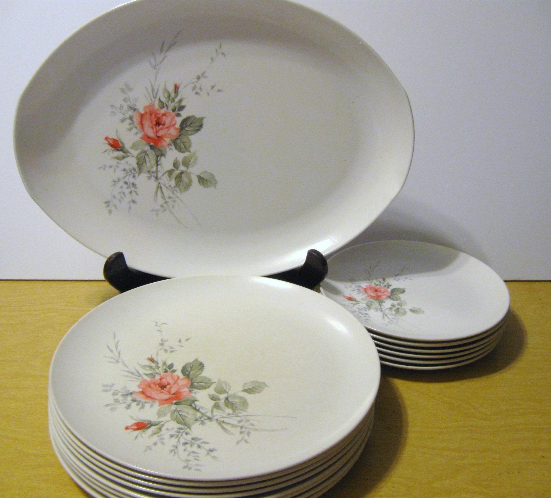 Vintage Melamine Pink Rose Plates Set Of By