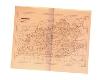 Antique 1896 Map of Kentucky (and Tennessee)