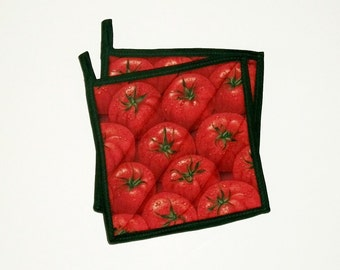 Tomato Pot Holders Red Quilted Set of 2