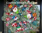 Fun Whimiscal Snowman Mesh Wreath