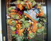 Trick or Treat Witch Hat and Legs Wreath