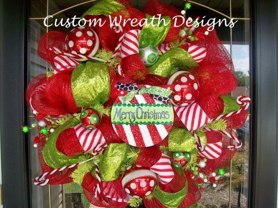 Merry Christmas Peppermint Deco Mesh Wreath
