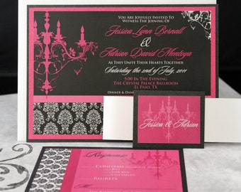 Glamorous Pink and Black Chandelier Wedding Invitations ((((Sample))))