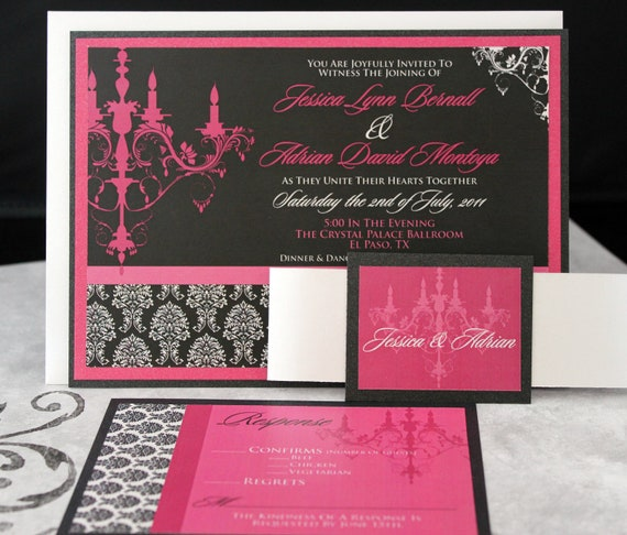 Glamorous Pink and Black Chandelier Wedding Invitations ((((Sample))))