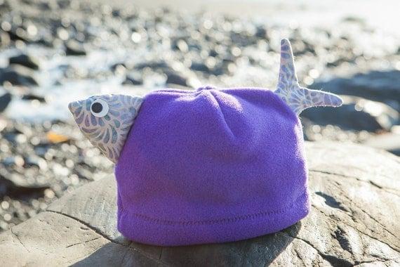 Children's Purple Fleece Fish Hat