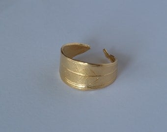 Olive leaf handmade ring from gold plated bronze