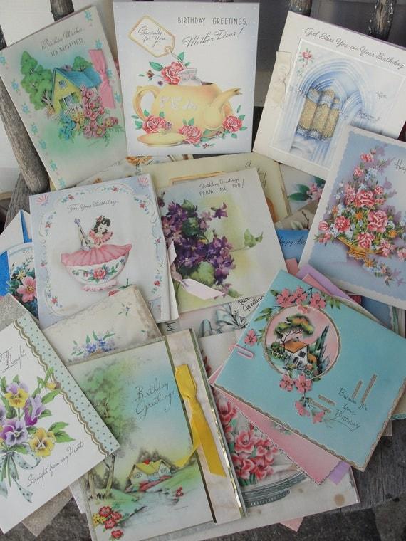 1940s - 1950s vintage birthday cards - used