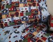 Toddler bedding EMT vehicles print crib sheet set 3 pc toddler boy sheets boy nursery infant bedding