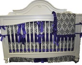 Purple With White and Black Crown Minky- 4 Piece Set Crib Bedding Set