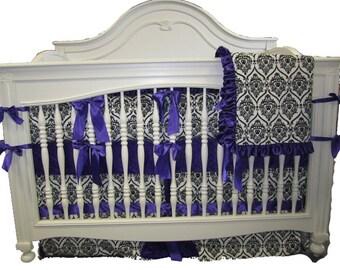 Purple With White and Black Crown Minky- 4 Piece Set Crib Bedding Set