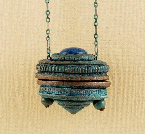Fairy Box   Spirit Box    Renaissance Case  Patina Bronze Lapis Lazuli Container