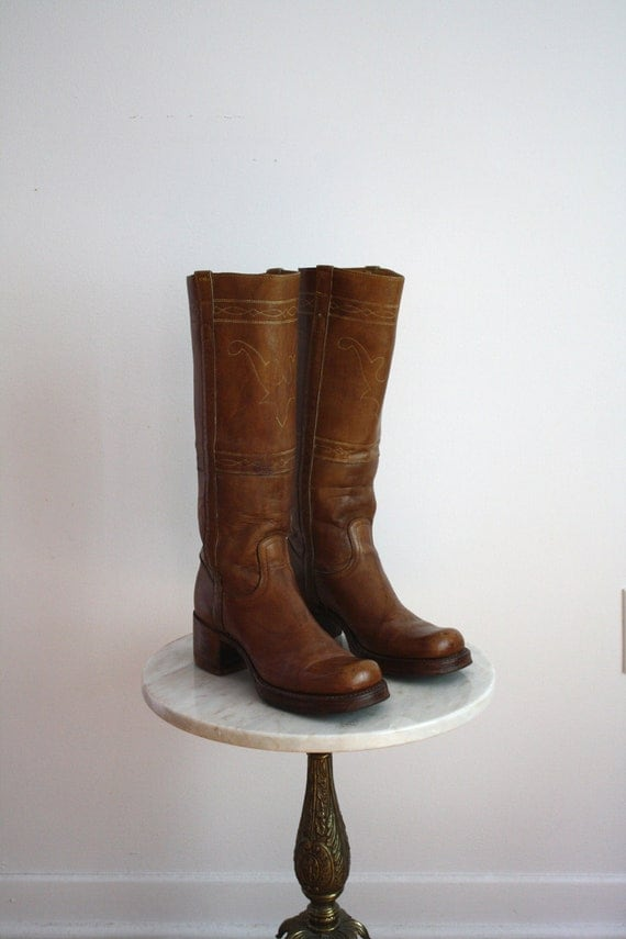 Campus Boots Brown Leather - Women's 6.5 7 - DETAILED STAG - 1960s VINTAGE
