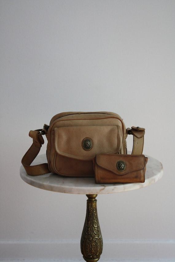 DKNY Bag & Wallet - Leather ECRU Brass Café au Lait - 1980s VINTAGE