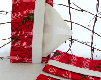 Fabric Tissue Holder:  Red and Green with Music Notes