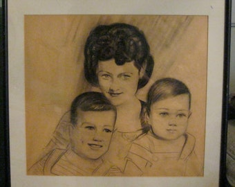 Mid Century Family Portrait Original Drawing /  Mom And Children Charcoal Picture / Americana