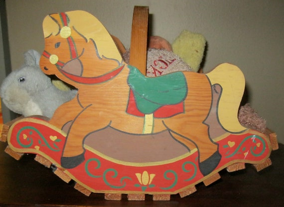 Vintage Rocking Horse Toy Storage Basket / Children' Room / SawMill Critters / Wood