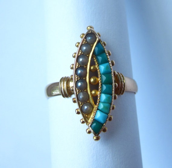 FABULOUS Antique Victorian Turquoise and Pearl 14K Ring