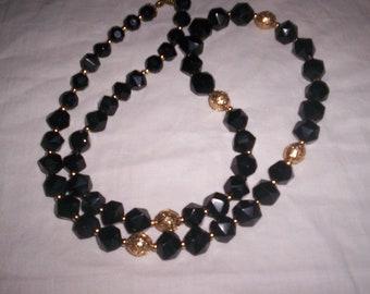 vintage necklace black gold beads lucite