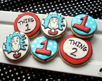 Dr. Seuss Thing 1 and Thing 2 Sugar Cookie Collection - 1 DOZEN