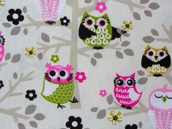 Owls  Fabric / Owls Duck Fabric  / 1 Yard 15""