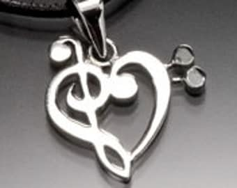 Music Treble clef Bass clef Heart Musical Love Sterling silver Necklace Pendant Gift