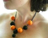 Orange and Black Felt Necklace -  Orange and Dark Olive Needle Felted Ball Necklace Jewellery