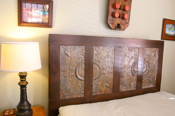 Victorian Queen Headboard Made From Salvaged Door and Antique Ceiling Tin