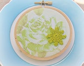 Green Embroidery Hoop Art Ornament. Vintage Retro Fabric Lime Green Pastel Flowers Roses Christmas Decoration Domum Vindemia Shabby Chic