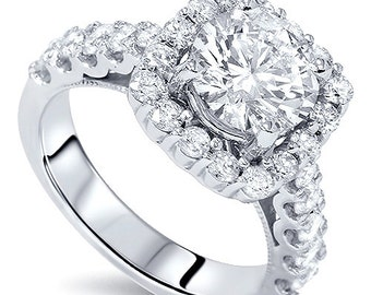 3.25CT (2.00CT Center) Cushion Halo Round Diamond Engagement Ring 14K White Gold