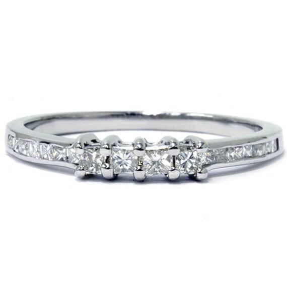 princess cut 1 2ct wedding anniversary guard band ring
