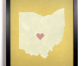 State Love Ohio, Home, Kitchen, Nursery, Bath, Dorm, Office Decor, Wedding Gift, Housewarming Gift, Unique Holiday Gift, Wall Poster