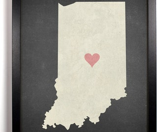 State Love Indiana, Home, Kitchen, Nursery, Bath, Dorm, Office Decor, Wedding Gift, Housewarming Gift, Unique Holiday Gift, Wall Poster
