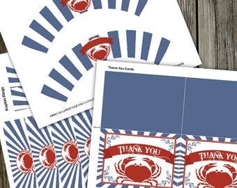 Red, White & Blue Crab Feed PRINTABLE Party Kit