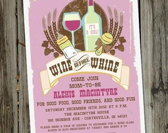 Wine Before Whine Baby Shower Invitation, Baby Invitation, Baby Shower Invite, for Men or Women