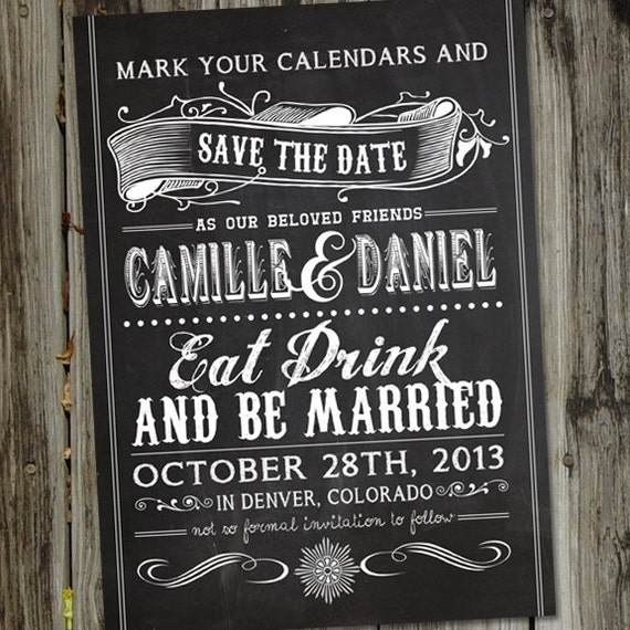 Vintage Retro Chalkboard Save the Date PRINTABLE Wedding Announcement