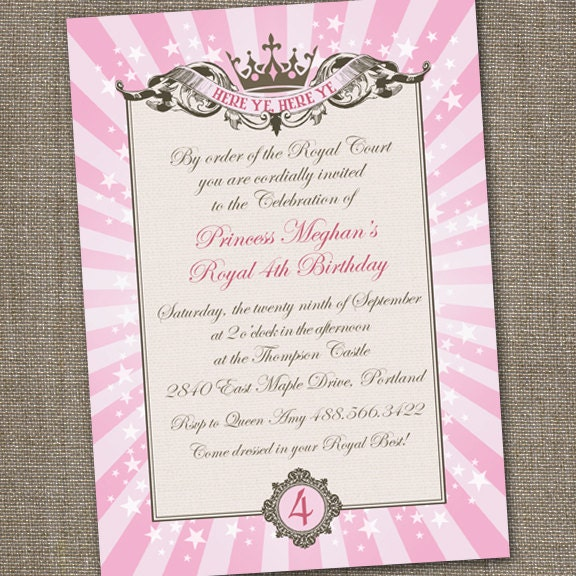 Royal Princess Tiara Printable Birthday Invitation