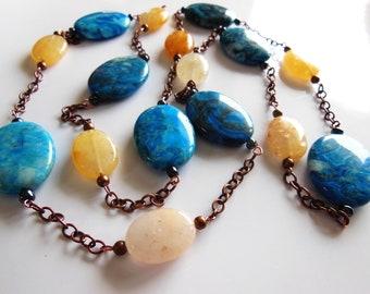 Vanilla on Blue necklace  319