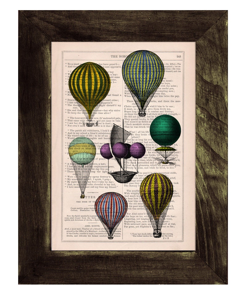 Home decor book print hot air balloon exhibition print by for Balloon decoration book