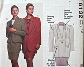 McCall's 6132, Women's Jacket, Top, and Skirt Pattern, Size 12, Vintage 1992