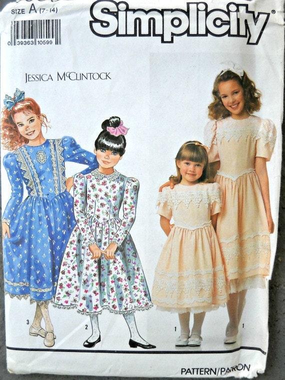Simplicity 9933, Jessica McClintock, Girls Dress with Trim Variations, Sizes 7 through 14, Vintage 1990