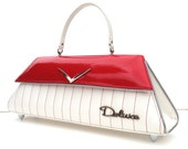 Couture Vintage Car inspired Handbag Made In USA- Deluxe White/ Red sparkle Tuck & Roll