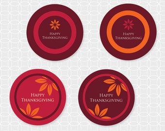 Party Printable Thanksgiving Themed Party Circles - DIY Printable, rustic, leaves, orange, yellow, red, burgundy, fall