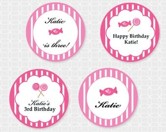 Pink Candy Party Circles - Personalized Printable