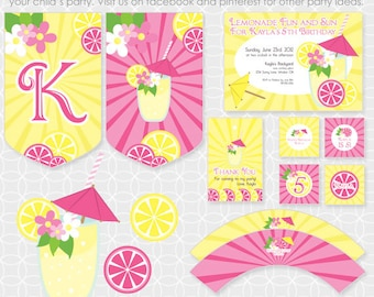 Party Printable Lemonade Party Theme Basic Package - Personalized Printable