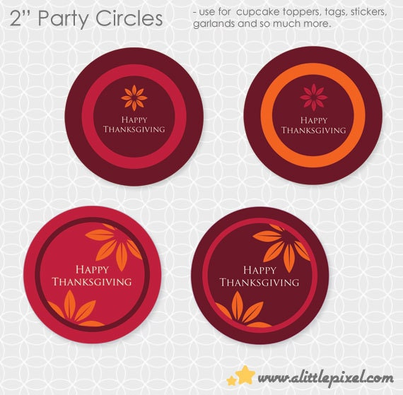Thanksgiving Themed Party Circles - DIY Printable, rustic, leaves, orange, yellow, red, burgundy, fall