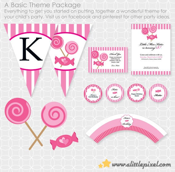 Pink Candy Party Theme Basic Package - Personalized Printable - lollipop, candy shop, candy store, girl