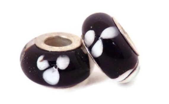 SALE - Black with White European Style Large Hole Bead with a Sterling Silver Core