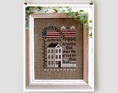 LITTLE HOUSE NEEDLEWORKS America counted cross stitch patterns at thecottageneedle.com 4th of July Independence Day patriotic flag stars