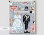 A Day In White : Madame la Fee French cross stitch pattern & charm wedding anniversary counted hand embroidery