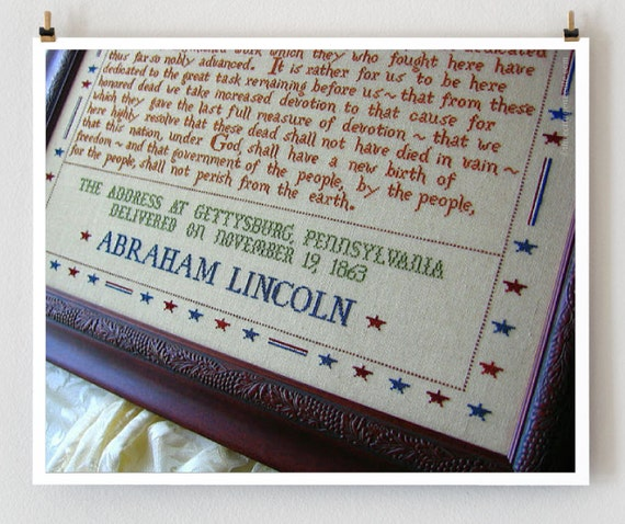 Gettysburg Address 272 Words : Primrose Needleworks counted cross stitch pattern Abraham Lincoln embroidery